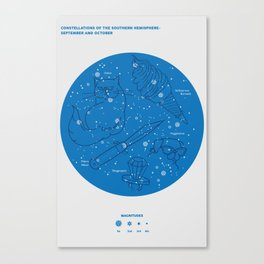 Constellations of the Southern Hemisphere- Sept & Oct  (in blue) Canvas Print