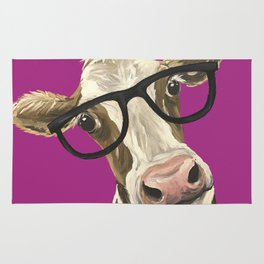 Cute Glasses Cow, Colorful Cow With Glasses Rug