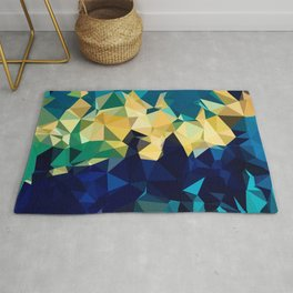 Blue Gold New Poly Wave Geometric Triangles  Rug