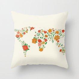 Floral World Map Throw Pillow