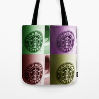 starbucks Tote Bags featuring Starbucks  by Chris Thaxter
