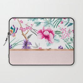 Chinoiserie pearl white floral & rose gold Laptop Sleeve