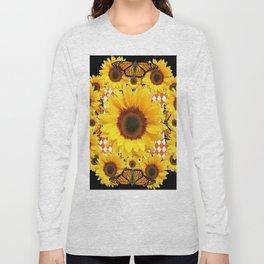 BLACK & MONARCH BUTTERFLIES & YELLOW SUNFLOWERS Long Sleeve T-shirt