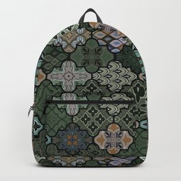Colorful floral seamless ornate pattern in green color Backpack