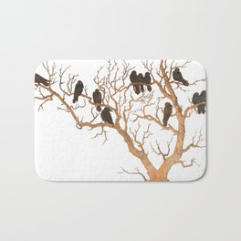 Black Birds on Brown Branches Clusters Jean Dunand Art Deco Bath Mat