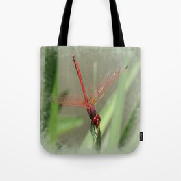 Beautiful Red Skimmer or Firecracker Dragonfly Tote Bag