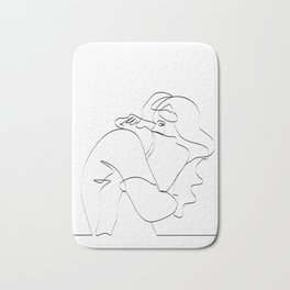 Couple continuous line draw Bath Mat