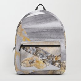 Geometric Gray and Gold Watercolor Abstract Paint Strokes Backpack