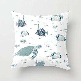 Hamptons Style Blue White Ocean Pattern Throw Pillow
