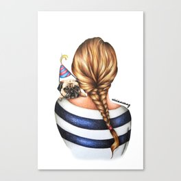 Brunette Braid Hairstyle Girl with Pug Dog Drawing Canvas Print