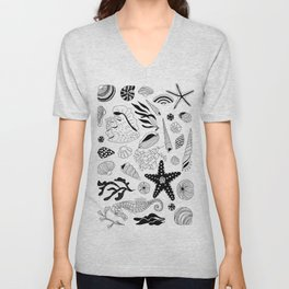 Tropical underwater creatures and seaweeds Unisex V-Neck