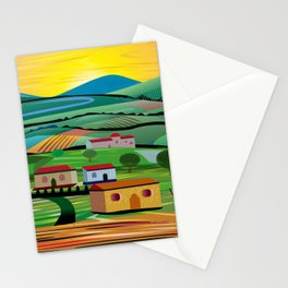Sunset over Fields Stationery Cards