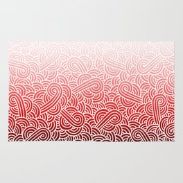 Faded red and white swirls doodles Rug