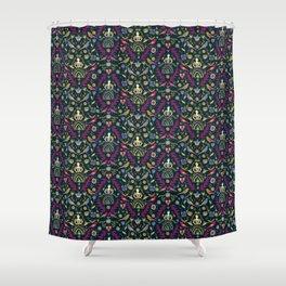 Purple and Gold Folk Milk Maid Pattern Shower Curtain