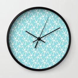 Nautical modern teal white anchor pattern Wall Clock