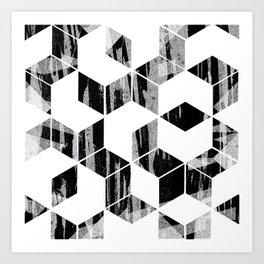 Elegant Black and White Geometric Design Art Print