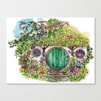 the hobbit Canvas Prints featuring Hobbit hole by Kris-Tea Books