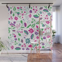 Colorful Funky Flower Garden Wall Mural