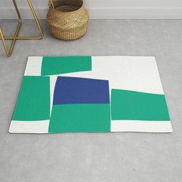 Green and Blue Minimalist Blocks Rug