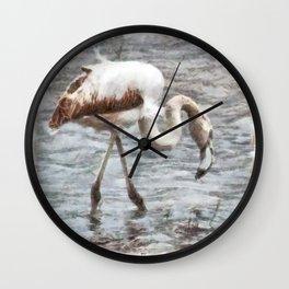 Knee Deep Flamingo Watercolor Wall Clock