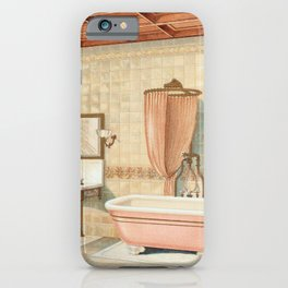 Vintage bathroom interior published in 1877-1893 by JL Mott Iron Works iPhone Case