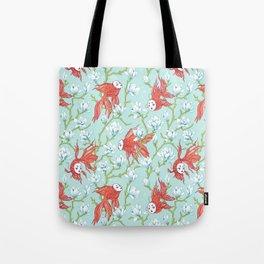Goldfish, Mask and Magnolia Pattern Tote Bag