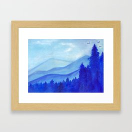 Blue mountains, pine trees, birds, original, painting, gouache, blue, white, wall décor, wall art Framed Art Print