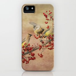 Cedar Waxwings Gathering iPhone Case