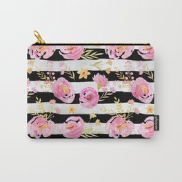 Delicate Poppy Pattern On Stripes Carry-All Pouch