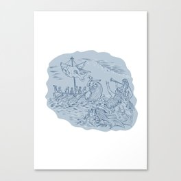 Greek Trireme Navigator Pointing Avoiding Sirens Drawing Canvas Print