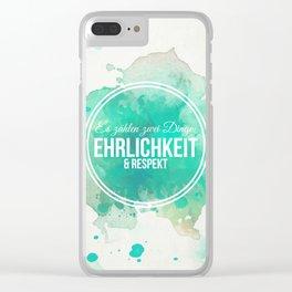 Es zählen Erhlichkeit und Respekt - Wasserfarben Blume Clear iPhone Case