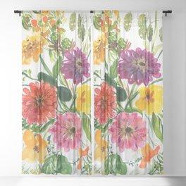 colorful zinnias Sheer Curtain