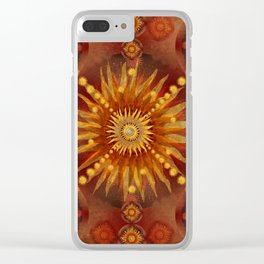 """""""Red Blood & Gold Vault Mandala (Gold stars)"""" Clear iPhone Case"""