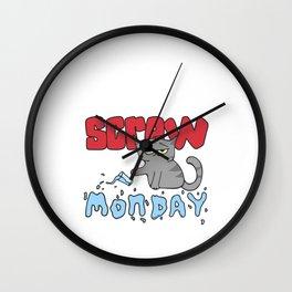 Hand Drawn Illustrations Screw Monday Hate Mondays Gift Wall Clock
