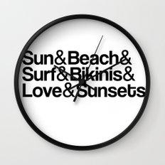 Sun, surf, bikinis Wall Clock