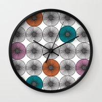 scandinavian Wall Clocks featuring Scandinavian Abstract Floral by She's That Wallflower