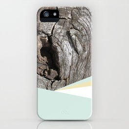 Woodgrain and pastel geometry (1) iPhone Case