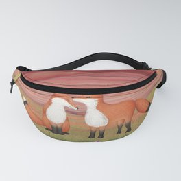 affectionate foxes and purple petunias Fanny Pack
