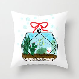 Cactus Terrarium Christmas Gift Throw Pillow