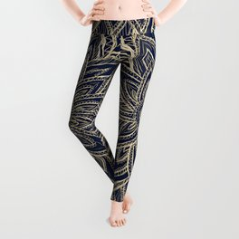 Cute Retro Gold abstract Flower Drawing  geometric Leggings