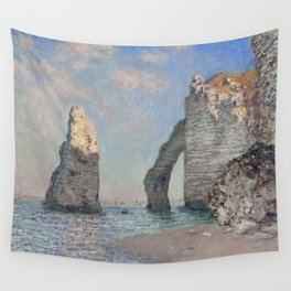 The Rock Needle and the Porte d'Aval by Claude Monet Wall Tapestry