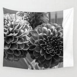 Black and White Dahlia  Wall Tapestry