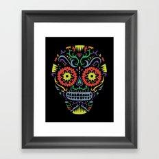 Sugar Skull SF multi -  black Framed Art Print