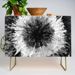 Black and White Tie Dye // Painted // Multi Media Credenza