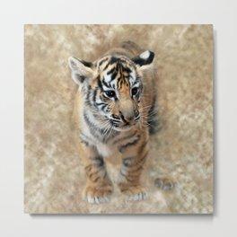 Tiger cub emerging Metal Print