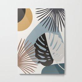 Minimal Yin Yang Monstera Fan Palm Finesse #3 #tropical #decor #art #society6 Metal Print