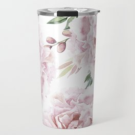 Beautiful Pink Watercolor Floral Bouquet Travel Mug