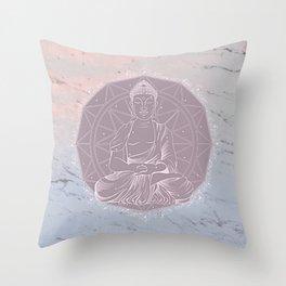 Boho Love Mandala On Watercolor Marble Throw Pillow