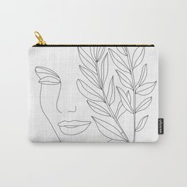 Minimal Line Art Woman Face Carry-All Pouch