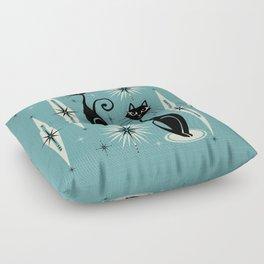 Mid Century Meow Retro Atomic Cats on Blue Floor Pillow